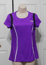 FILA SPORT Womens Heathered Purple Mesh Inserts Reflective Stripes Top Size S