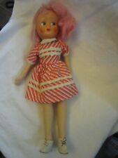 "Vintage 1950's Polish Jointed Cloth Sawdust 16"" Doll Plastic Face Pink Hair"