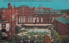 Postcard Hotel De Soto Court Showing Pool + Miniature Golf Savannah GA