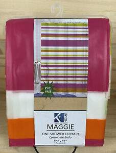 Kashi Home- 70 x 72in- Summer Striped PEVA Pink/Green/White Shower Curtain