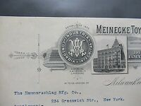 1897 Antique Signed Document, Meinecke Toys Co. Oneida St. Milwaukee WI