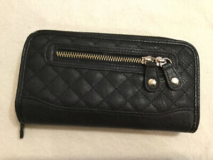 Jane Norman Black PU Faux Leather Long Wallet Clutch Purse
