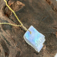 Moonstone Pendant Necklace 925 Sterling Silver Handmade Natural Raw Women Gift