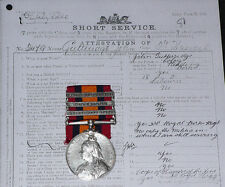 QSA 3 CLASPS TO 3rd HUSSARS + Papers & Rolls with later WWI Service