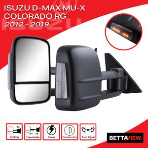 Bettaview Extendable Towing Mirrors Isuzu D-Max Mu-x Colorado RG 2012-2019 Black