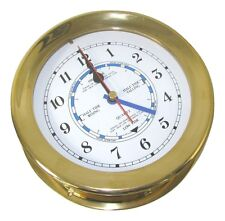 "Victory RM615T 6"" Cast Polished Brass Ships Tide Clock 7-1/4"" x 2-3/4"" 135-1097"