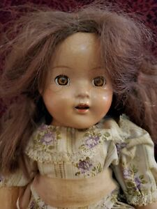 Vintage Unmarked Composition Girl Doll Working Brown Sleep Eyes Open Mouth Cute