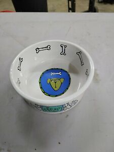 "8"" Ursula Dodge Medium Dog Food Water Bowl Dish Signature Stoneware Bone new nos"