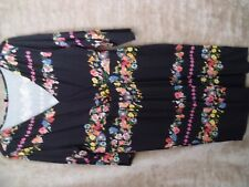 Empire line wrap front black multi stretch calf length dress size 16  ---(21)