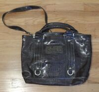Guess Large Purse Gray Patent Leather Tote Style Shoulder Bag Handbag