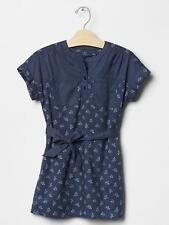 NWT Gap Kids 2015 Mix Print Belted Dress Dutch Blue M 8