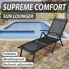 vidaXL Folding Sun Lounger Aluminium Black