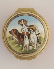 Vintage Halcyon Days Round, Hinged Enamel Box – Hunting Dogs – England