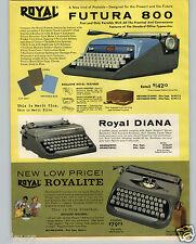 1961 PAPER AD Royal Portable Typewriter Diana Royalite Futura 800 COLOR