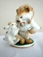Vintage Soviet Russian Porcelain Figurine Lomonosov LFZ Lion Caught Drunk Rabbit