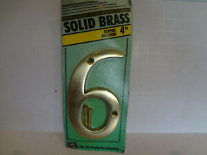 """HyKo 4"""" Solid Brass House Number """"6"""""""