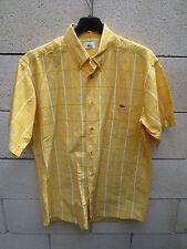 Chemise LACOSTE Devanlay jaune carreaux coton manches courtes 40 M