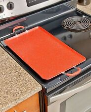 Red Nonstick Double Burner Griddle Breakfast Stove Top Cooker Kitchen Meals