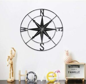 """Rustic Metal Compass 12"""" Nautical Wall Décor Distressed Black Seascape Hanging"""