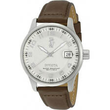 Invicta Men's Watch I-Force Silver Tone Dial Brown Leather Strap 12825