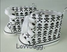 """Lovvbugg Skull HighTops Sneakers Shoes for 18"""" American Girl or Boy Doll Clothes"""