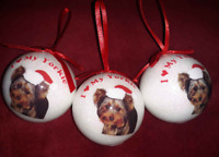 """I Love My Yorkie Yorkshire Terrier Christmas Ball Ornament 2 Sided 2.5"""" lot 3"""