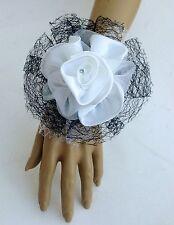 New Bespoke Black/White Wrist Corsage Bride,Bridesmaid Wedding Guest Proms Races