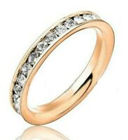"""3mm Womens Stainless Steel """"ROSE GOLD & CZ"""" Eternity Band Ring - Gift Boxed"""