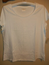 NEW COLDWATER CREEK WHITE PLUS SIZE 1X (16W-18W) ESSENTIAL SCOOPNECK TEE/TOP