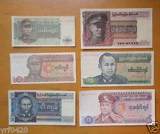 Burma / Myanmar Paper Money Set Of 6 Pieces Vf-Au