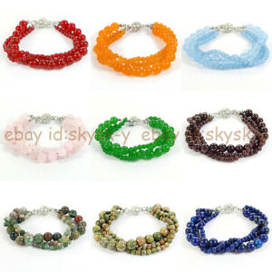 3 Strands Natural 4mm 8mm Round Gems Beads Twisted Bracelet 7.5'' Magnetic Clasp