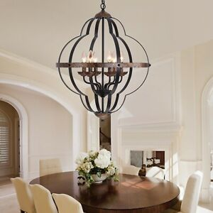 Farmhouse Dining Table Chandelier Orb 6 Light Metal Black Cooper Finish Rustic