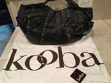 """KOOBA Large """"Marcelle"""" Laced Grommet Shoulder Bag - Black Distressed Leather"""