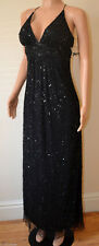 Black padded sequin full length MAXI gown sexy  NEW cocktail ball dress 12 BNWT