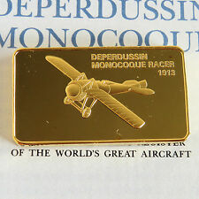 DEPERDUSSIN MONOCOQUE RACER GOLD PLATED PROOF INGOT - jane's medallic register