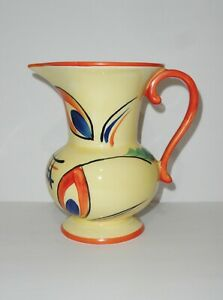 Ditmar Urbach Czechoslovakia Art Deco Pottery Hand Painted Pitcher