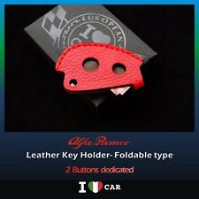Alfa Romeo 156, 147 Red Leather Key Holder- Foldable type (2 BUTTONS)