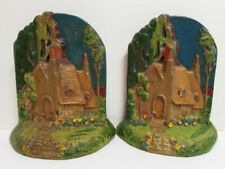 Antique #292 HUBLEY Cottage in The Woods BOOKENDS Cast Iron Hand Painted Art