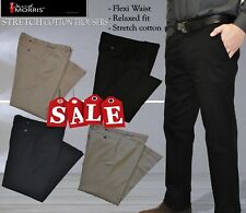 Mens Casual Cotton Stretch Chino Pant Casual Dress Trousers Flexi Waist NEW