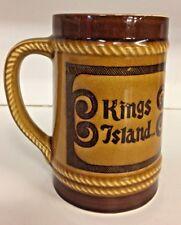 Vintage Kings Island Souvenir Brown Mug Large Ceramic Amusement Park Travel Trip