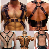 Men PU Leather Restrain Chest Strap Harness Clubwear Shoulder Fancy Costume Belt