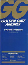 Golden Gate Airlines system timetable 7/1/80 [6113] Buy 2 Get 1 Free