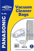 5x PANASONIC Vacuum Cleaner Bags C-2E TYPE MCE741, MCE741UK, MCE742, MCE742UK