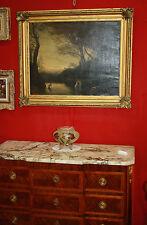 """Peinture huile sur toile """"Les baigneuses"""" reproduction d'après Corot signé Roche"""