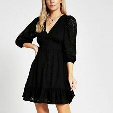 River Island Womens Petite Black Broderie Mini Smock Dress