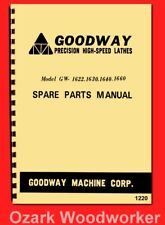 Goodway Gw-1622,1630,1640,1660 Metal Lathe Parts Manual 1220