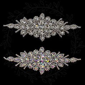 Silver Rhinestone Rhinestone Motif Applique Sew on Patch Wedding Bridal Dress