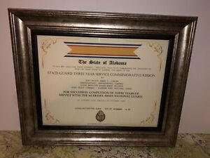 ALABAMA STATE GUARD THREE YEAR SERVICE COMMEMORATIVE RIBBON CERTIFICATE