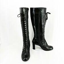 STUART WEITZMAN Women's Leather Knee Lace-up Boots Block Heel Black Size 7.5