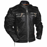 Men's Rivet Motorcycle Gangster Black Real Leather Jacket
